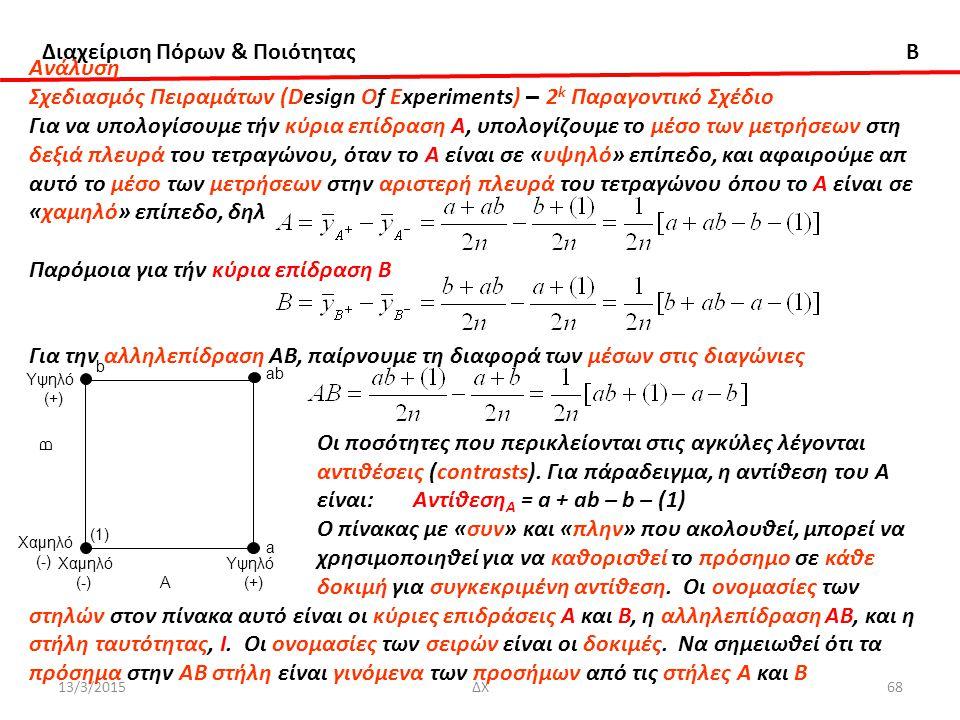 Διαχείριση Πόρων & Ποιότητας B 13/3/2015ΔΧ68 Ανάλυση Σχεδιασμός Πειραμάτων (Design Of Experiments) – 2 k Παραγοντικό Σχέδιο Για να υπολογίσουμε τήν κύρια επίδραση Α, υπολογίζουμε το μέσο των μετρήσεων στη δεξιά πλευρά του τετραγώνου, όταν το Α είναι σε «υψηλό» επίπεδο, και αφαιρούμε απ αυτό το μέσο των μετρήσεων στην αριστερή πλευρά του τετραγώνου όπου το Α είναι σε «χαμηλό» επίπεδο, δηλ Παρόμοια για τήν κύρια επίδραση Β Για την αλληλεπίδραση ΑΒ, παίρνουμε τη διαφορά των μέσων στις διαγώνιες Οι ποσότητες που περικλείονται στις αγκύλες λέγονται αντιθέσεις (contrasts).