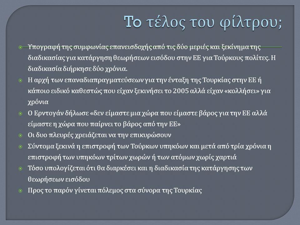  Υπογραφή της συμφωνίας επανεισδοχής από τις δύο μεριές και ξεκίνημα της διαδικασίας για κατάργηση θεωρήσεων εισόδου στην ΕΕ για Τούρκους πολίτες. Η