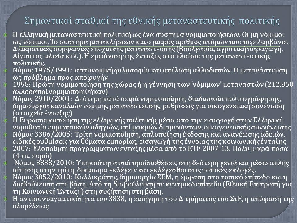  Η ελληνική μεταναστευτική πολιτική ως ένα σύστημα νομιμοποιήσεων. Οι μη νόμιμοι ως νόμιμοι. Το σύστημα μετακλήσεων και ο μικρός αριθμός ατόμων που π