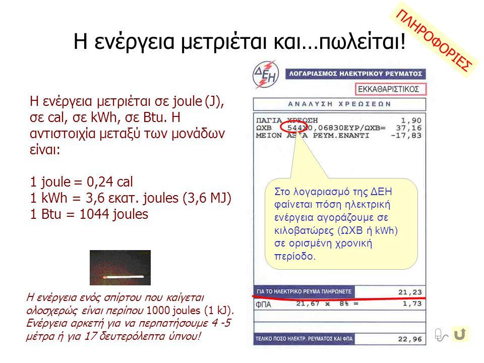 Η ενέργεια μετριέται και…πωλείται! Στο λογαριασμό της ΔΕΗ φαίνεται πόση ηλεκτρική ενέργεια αγοράζουμε σε κιλοβατώρες (ΩΧΒ ή kWh ) σε ορισμένη χρονική
