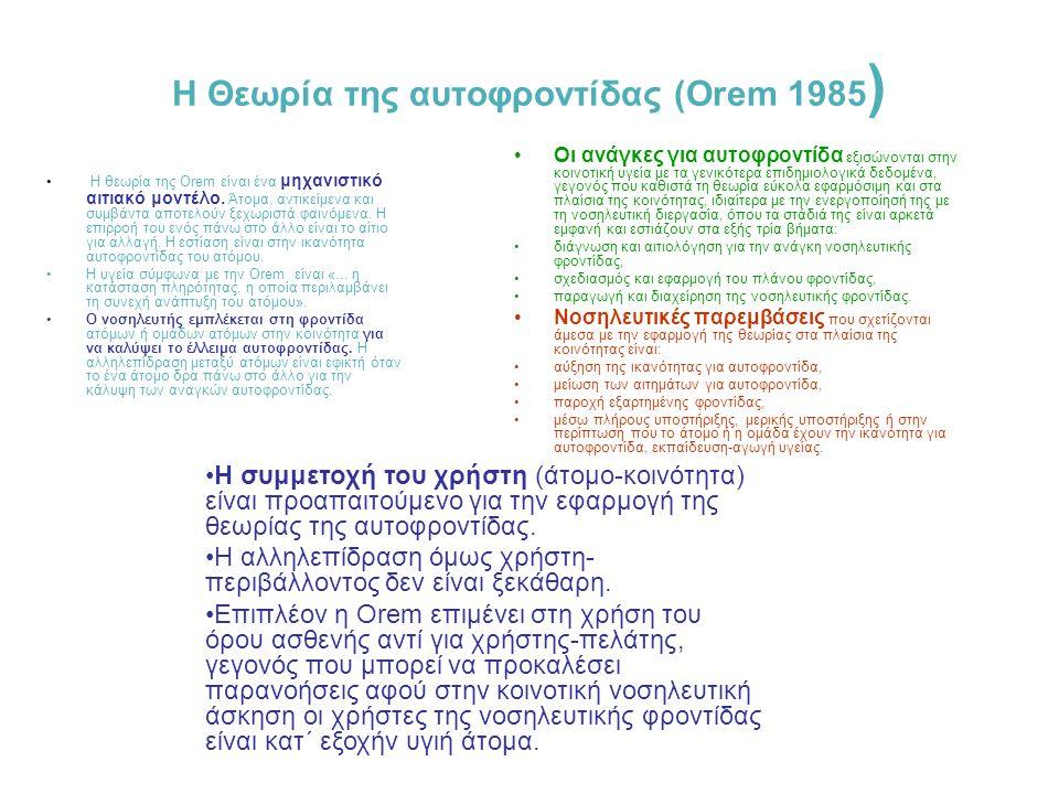 Το Μοντέλο συστημάτων της Neuman (1989) ο πελάτης (άτομο ή ομάδα) η κοινωνία/το περιβάλλον (εσωτερικό ή εξωτερικό) η υγεία (ευεξία) η νοσηλευτική φρον