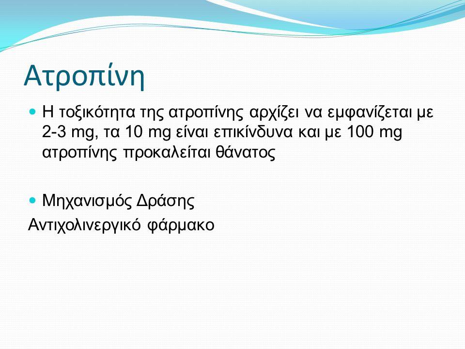 Ατροπίνη Η τοξικότητα της ατροπίνης αρχίζει να εμφανίζεται με 2-3 mg, τα 10 mg είναι επικίνδυνα και με 100 mg ατροπίνης προκαλείται θάνατος Μηχανισμός