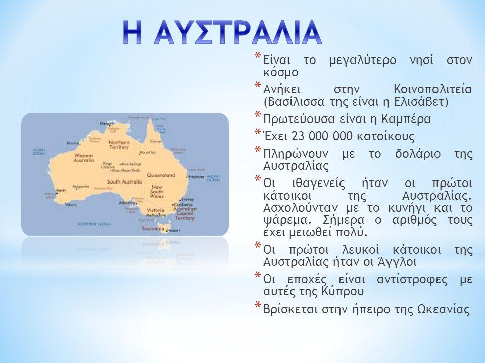 * Είναι το μεγαλύτερο νησί στον κόσμο * Ανήκει στην Κοινοπολιτεία (Βασίλισσα της είναι η Ελισάβετ) * Πρωτεύουσα είναι η Καμπέρα * Έχει 23 000 000 κατοίκους * Πληρώνουν με το δολάριο της Αυστραλίας * Οι ιθαγενείς ήταν οι πρώτοι κάτοικοι της Αυστραλίας.