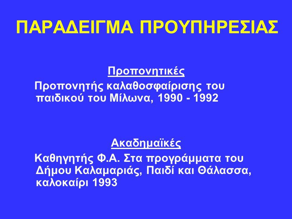 ΠΑΡΑΔΕΙΓΜΑ ΠΡΟΥΠΗΡΕΣΙΑΣ Προπονητικές Προπονητής καλαθοσφαίρισης του παιδικού του Μίλωνα, 1990 - 1992 Ακαδημαϊκές Καθηγητής Φ.Α. Στα προγράμματα του Δή
