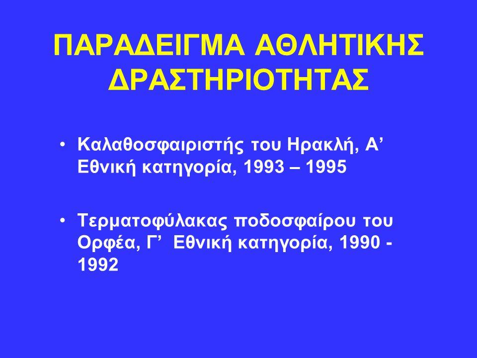 ΠΑΡΑΔΕΙΓΜΑ ΑΘΛΗΤΙΚΗΣ ΔΡΑΣΤΗΡΙΟΤΗΤΑΣ Καλαθοσφαιριστής του Ηρακλή, Α' Εθνική κατηγορία, 1993 – 1995 Τερματοφύλακας ποδοσφαίρου του Ορφέα, Γ' Εθνική κατη