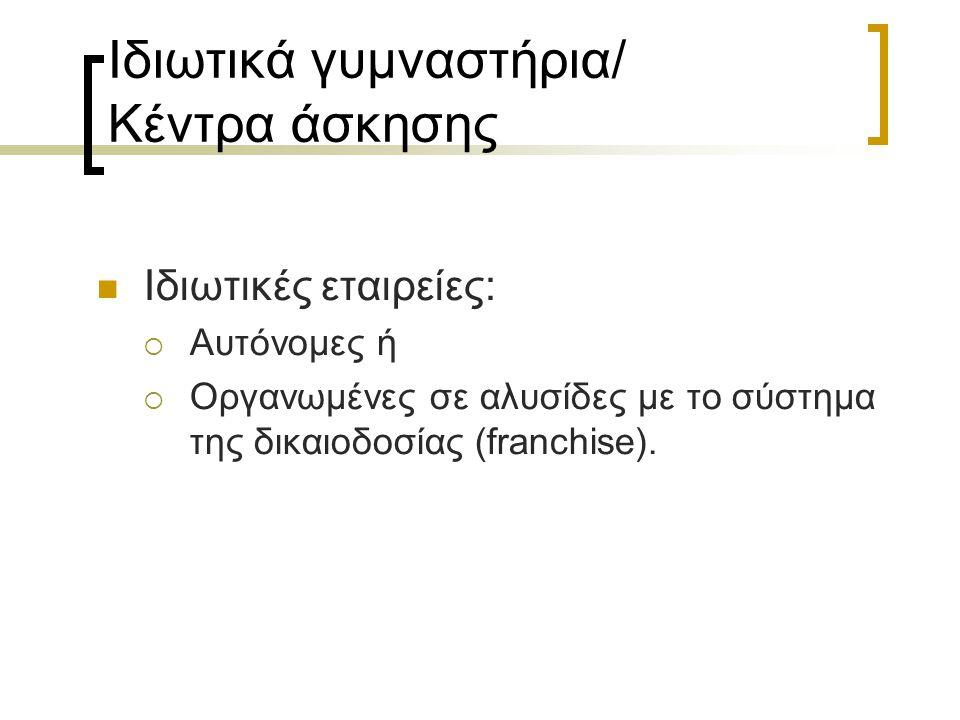 Ιδιωτικά γυμναστήρια/ Κέντρα άσκησης Ιδιωτικές εταιρείες:  Αυτόνομες ή  Οργανωμένες σε αλυσίδες με το σύστημα της δικαιοδοσίας (franchise).