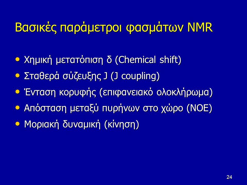 24 Βασικές παράμετροι φασμάτων NMR Χημική μετατόπιση δ (Chemical shift) Χημική μετατόπιση δ (Chemical shift) Σταθερά σύζευξης J (J coupling) Σταθερά σ