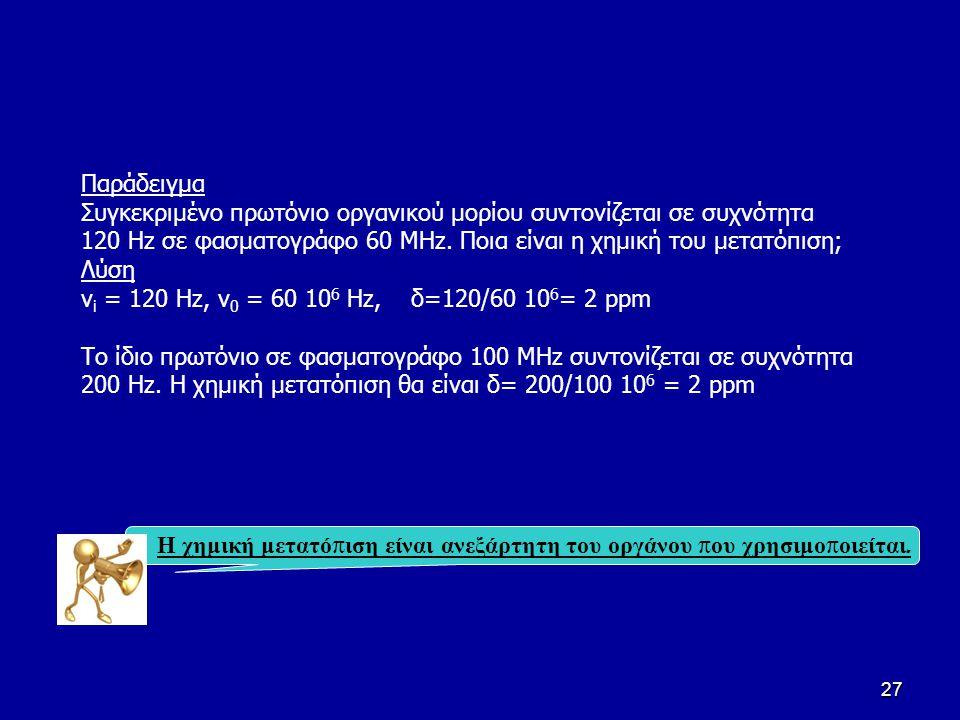 27 Παράδειγμα Συγκεκριμένο πρωτόνιο οργανικού μορίου συντονίζεται σε συχνότητα 120 Hz σε φασματογράφο 60 ΜΗz. Ποια είναι η χημική του μετατόπιση; Λύση