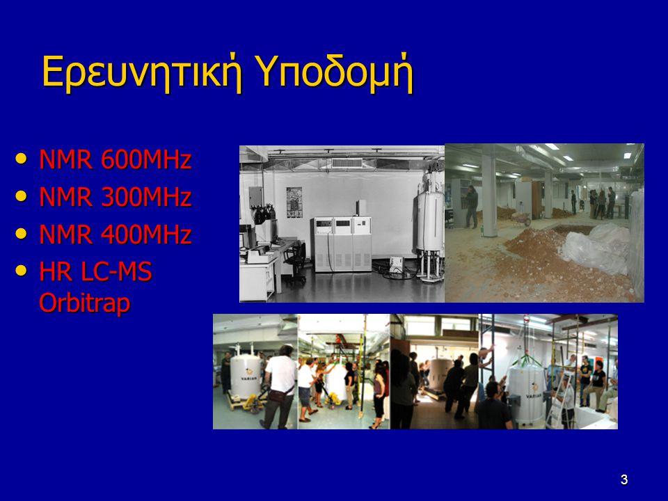 3 Ερευνητική Υποδομή NMR 600MHz NMR 600MHz NMR 300MHz NMR 300MHz NMR 400MHz NMR 400MHz HR LC-MS Orbitrap HR LC-MS Orbitrap