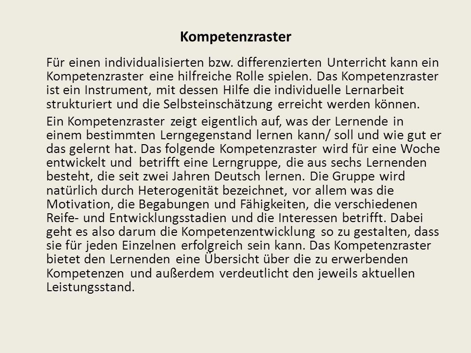 Kompetenzraster Für einen individualisierten bzw.
