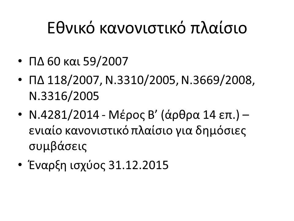Εθνικό κανονιστικό πλαίσιο ΠΔ 60 και 59/2007 ΠΔ 118/2007, Ν.3310/2005, Ν.3669/2008, Ν.3316/2005 Ν.4281/2014 - Μέρος Β' (άρθρα 14 επ.) – ενιαίο κανονισ