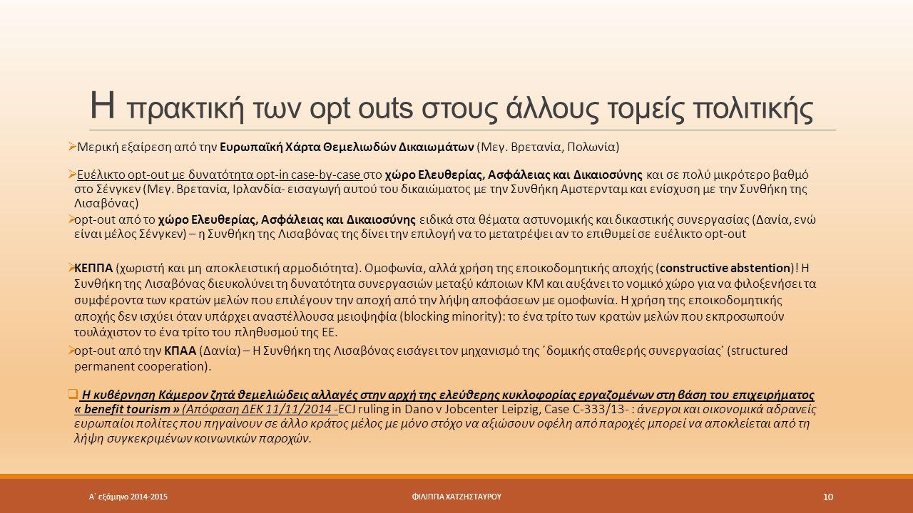 Η πρακτική των opt outs στους άλλους τομείς πολιτικής  Μερική εξαίρεση από την Ευρωπαϊκή Χάρτα Θεμελιωδών Δικαιωμάτων (Μεγ. Βρετανία, Πολωνία)  Ευέλ