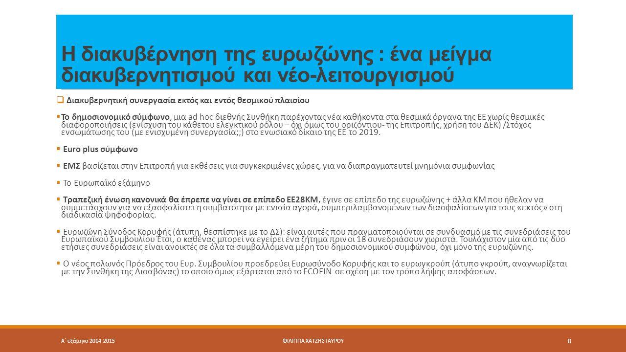 Η διακυβέρνηση της ευρωζώνης : ένα μείγμα διακυβερνητισμού και νέο-λειτουργισμού  Διακυβερνητική συνεργασία εκτός και εντός θεσμικού πλαισίου  Το δημοσιονομικό σύμφωνο, μια ad hoc διεθνής Συνθήκη παρέχοντας νέα καθήκοντα στα θεσμικά όργανα της ΕΕ χωρίς θεσμικές διαφοροποιήσεις (ενίσχυση του κάθετου ελεγκτικού ρόλου – όχι όμως του οριζόντιου- της Επιτροπής, χρήση του ΔΕΚ) /Στόχος ενσωμάτωσης του (με ενισχυμένη συνεργασία;;) στο ενωσιακό δίκαιο της ΕΕ το 2019.