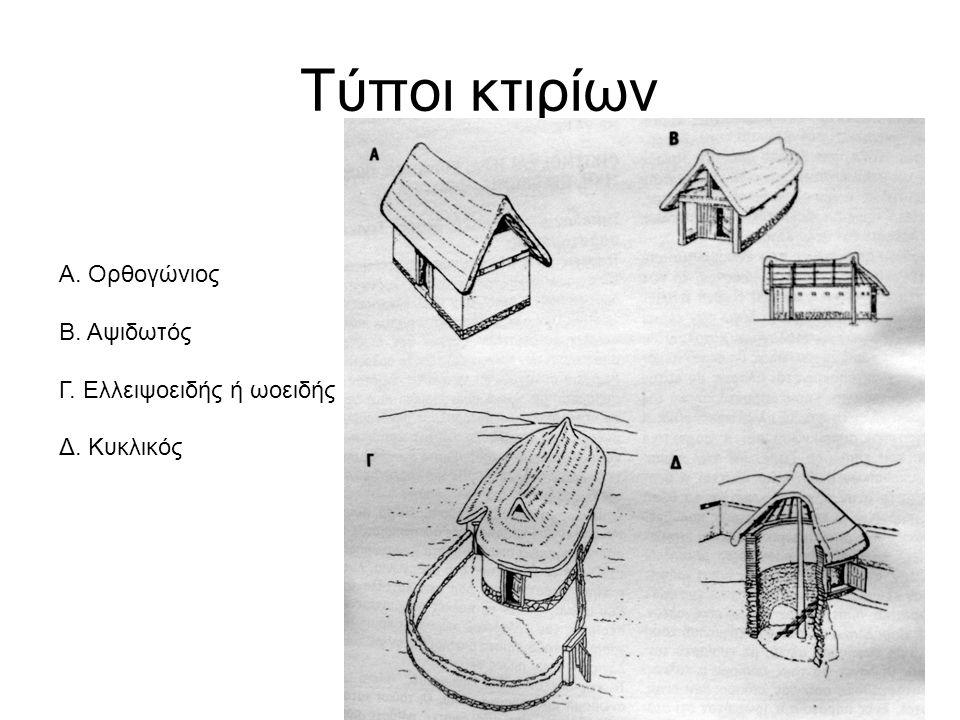 Τύποι κτιρίων Α. Ορθογώνιος Β. Αψιδωτός Γ. Ελλειψοειδής ή ωοειδής Δ. Κυκλικός