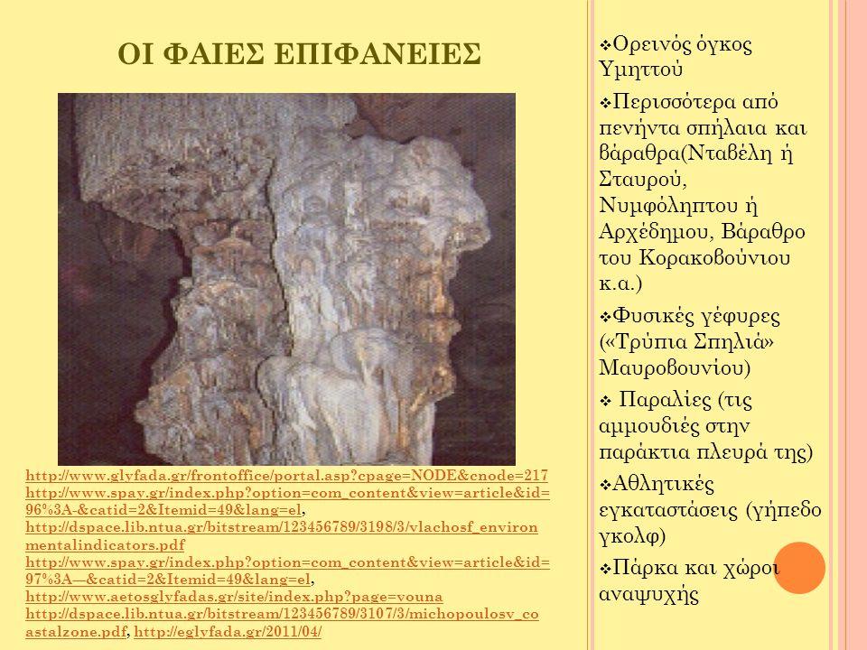 ΠΡΟΒΛΗΜΑΤΑ ΦΑΙΩΝ ΕΠΙΦΑΝΕΙΩΝ Αλλοίωση του ανάγλυφου και της βλάστησης στην περιοχή του Υμηττού από:  Πυρκαγιές  Βοσκή  Κεραίες  Διάφορες εγκαταστάσεις Δημοσίων Φορέων  Λατομεία  Ρίψη μπαζών ( http://eglyfada.gr/2011/04/, http://dspace.lib.ntua.gr/bitstream/123456789/3198/3/vlachosf_environme ntalindicators.pdf http://eglyfada.gr/2011/04/ http://dspace.lib.ntua.gr/bitstream/123456789/3198/3/vlachosf_environme ntalindicators.pdf http://www.oragiadrasi.gr/?page_id=45http://www.oragiadrasi.gr/?page_id=45, http://koutsogiannis.blogspot.com/2010/09/blog-post_27.html, http://www.glyfada.gr/frontoffice/portal.asp?cpage=NODE&cnode=273 ) http://koutsogiannis.blogspot.com/2010/09/blog-post_27.html http://www.glyfada.gr/frontoffice/portal.asp?cpage=NODE&cnode=273