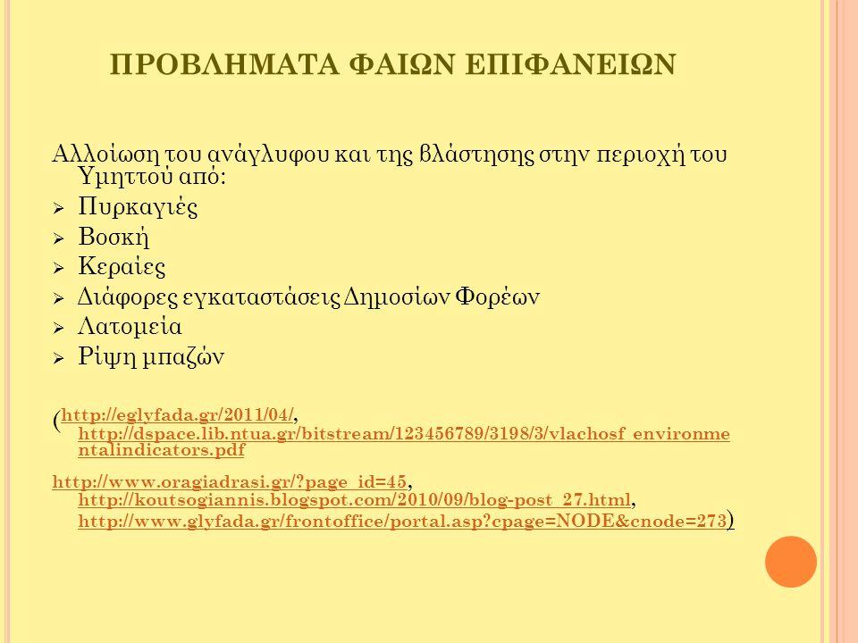 ΟΙ ΚΥΑΝΕΣ ΕΠΙΦΑΝΕΙΕΣ  Ρέματα  Υπόγεια νερά  Παράκτια ύδατα  Πηγάδια  Παραλίες Γλυφάδας -Οργανωμένες -Ελεύθερες  Μαρίνες (Μαρίνα Γλυφάδας) http://www.asfaleies-asfalistra.gr/glyfada-istoria.html http://archive.enet.gr/online/online_text/c=112,dt=29.12.2002,id=9 3934712http://archive.enet.gr/online/online_text/c=112,dt=29.12.2002,id=9 3934712, http://dspace.lib.ntua.gr/bitstream/123456789/3198/3/vlachosf_en vironmentalindicators.pdf http://dspace.lib.ntua.gr/bitstream/123456789/3198/3/vlachosf_en vironmentalindicators.pdf http://dspace.lib.ntua.gr/bitstream/123456789/3107/3/michopoulos v_coastalzone.pdf