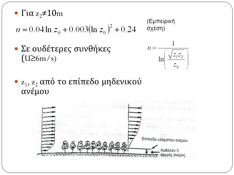 Για z 2 ≠10m Σε ουδέτερες συνθήκες (U≥6m/s) z 1, z 2 από το επίπεδο μηδενικού ανέμου (Εμπειρική σχέση)