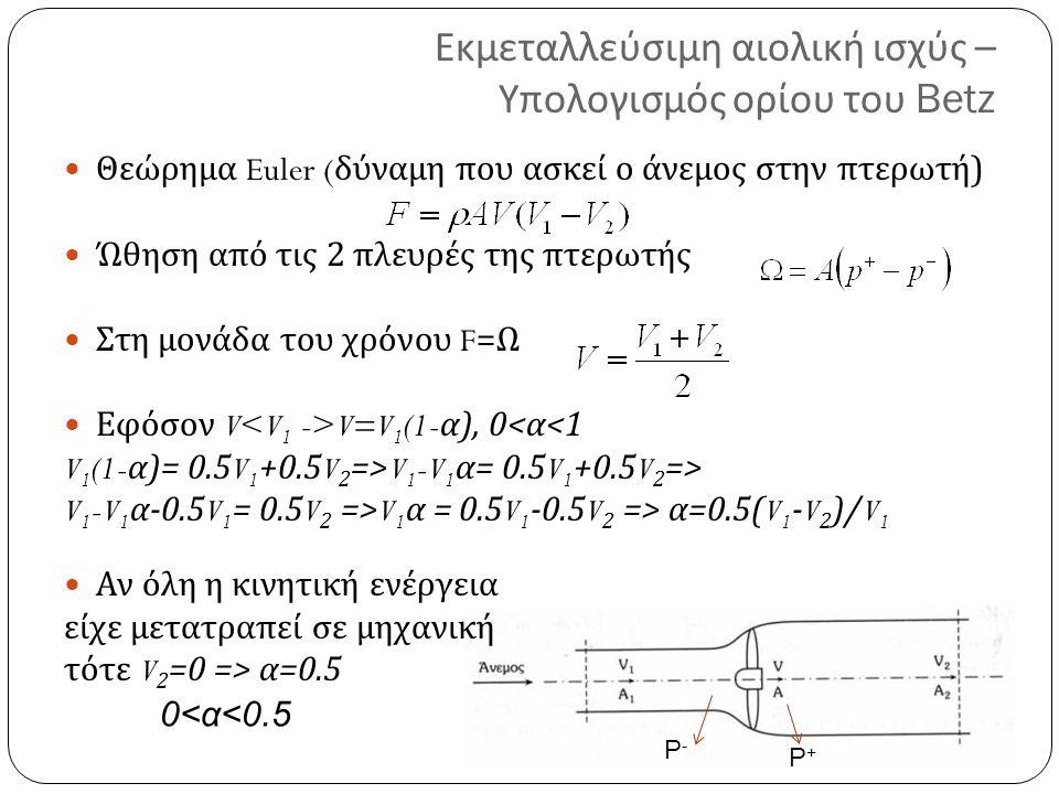 Εκμεταλλεύσιμη αιολική ισχύς – Υπολογισμός ορίου του Betz Θεώρημα Euler ( δύναμη που ασκεί ο άνεμος στην πτερωτή ) Ώθηση από τις 2 πλευρές της πτερωτή