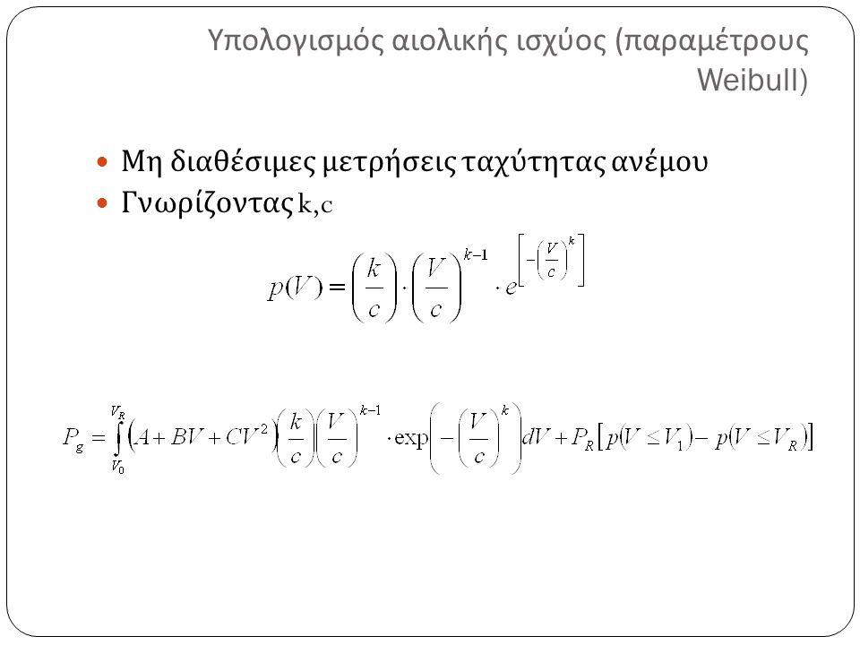 Υπολογισμός αιολικής ισχύος ( παραμέτρους Weibull) Μη διαθέσιμες μετρήσεις ταχύτητας ανέμου Γνωρίζοντας k,c
