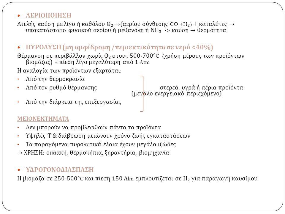 ΑΕΡΙΟΠΟΙΗΣΗ Ατελής καύση με λίγο ή καθόλου Ο ₂ → ( αερίου σύνθεσης CO +H ₂ ) + καταλύτες → υποκατάστατο φυσικού αερίου ή μεθανόλη ή ΝΗ ₃ -> καύση → θε