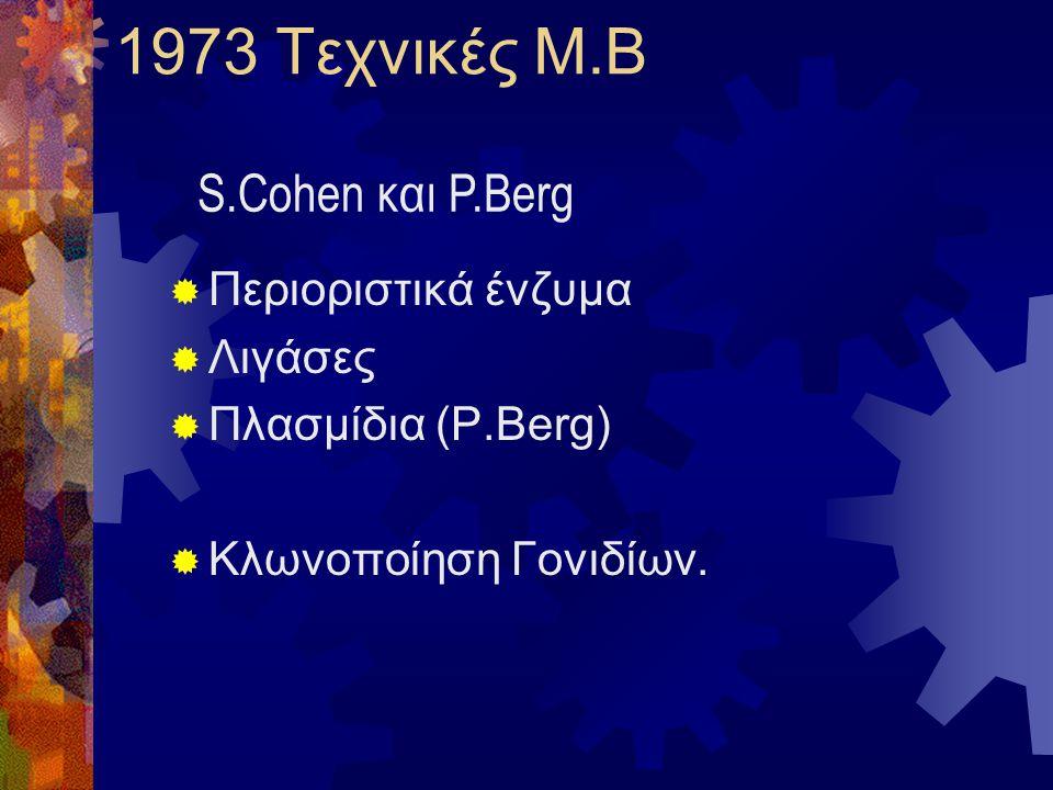 1973 Τεχνικές Μ.Β  Περιοριστικά ένζυμα  Λιγάσες  Πλασμίδια (P.Berg)  Kλωνοποίηση Γονιδίων. S.Cohen και P.Berg