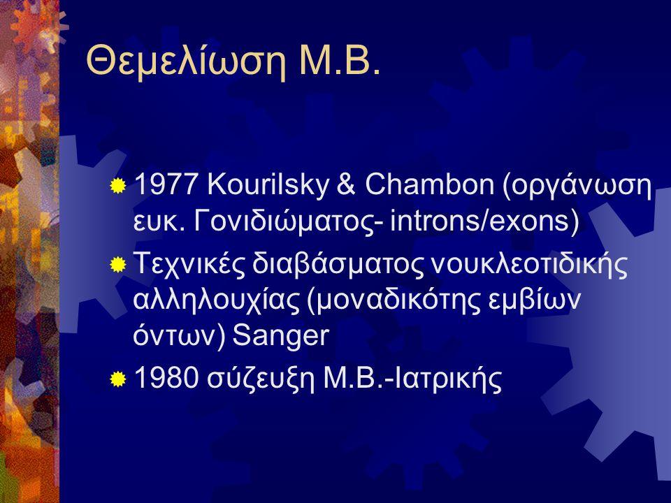 Θεμελίωση Μ.Β.  1977 Kourilsky & Chambon (οργάνωση ευκ. Γονιδιώματος- introns/exons)  Τεχνικές διαβάσματος νουκλεοτιδικής αλληλουχίας (μοναδικότης ε