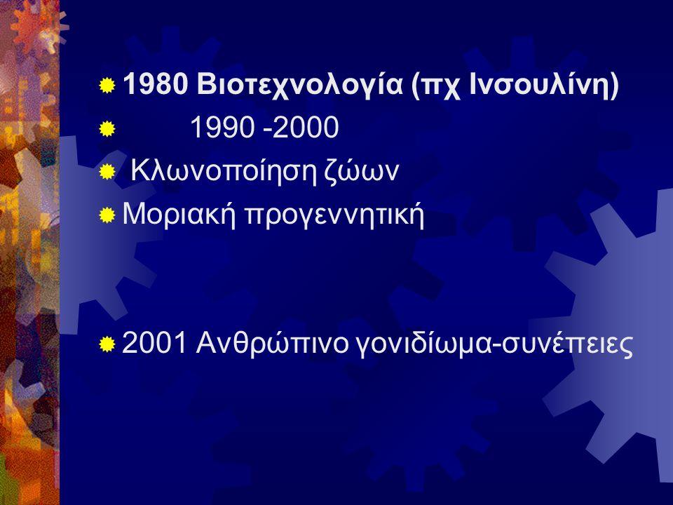  1980 Βιοτεχνολογία (πχ Ινσουλίνη)  1990 -2000  Κλωνοποίηση ζώων  Μοριακή προγεννητική  2001 Ανθρώπινο γονιδίωμα-συνέπειες
