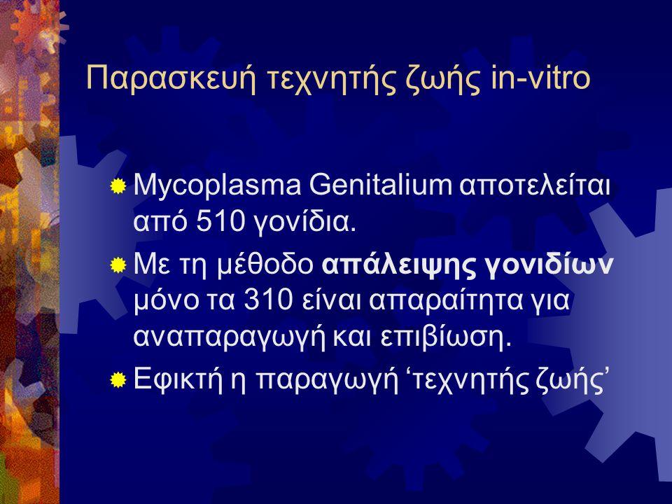 Παρασκευή τεχνητής ζωής in-vitro  Mycoplasma Genitalium αποτελείται από 510 γονίδια.  Με τη μέθοδο απάλειψης γονιδίων μόνο τα 310 είναι απαραίτητα γ
