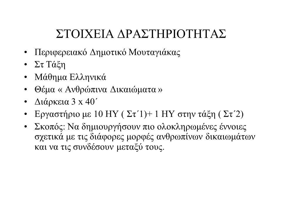 ΣΤΟΙΧΕΙΑ ΔΡΑΣΤΗΡΙΟΤΗΤΑΣ Περιφερειακό Δημοτικό Μουταγιάκας Στ Τάξη Μάθημα Ελληνικά Θέμα « Ανθρώπινα Δικαιώματα » Διάρκεια 3 x 40΄ Εργαστήριο με 10 ΗΥ ( Στ΄1)+ 1 ΗΥ στην τάξη ( Στ΄2) Σκοπός: Να δημιουργήσουν πιο ολοκληρωμένες έννοιες σχετικά με τις διάφορες μορφές ανθρωπίνων δικαιωμάτων και να τις συνδέσουν μεταξύ τους.