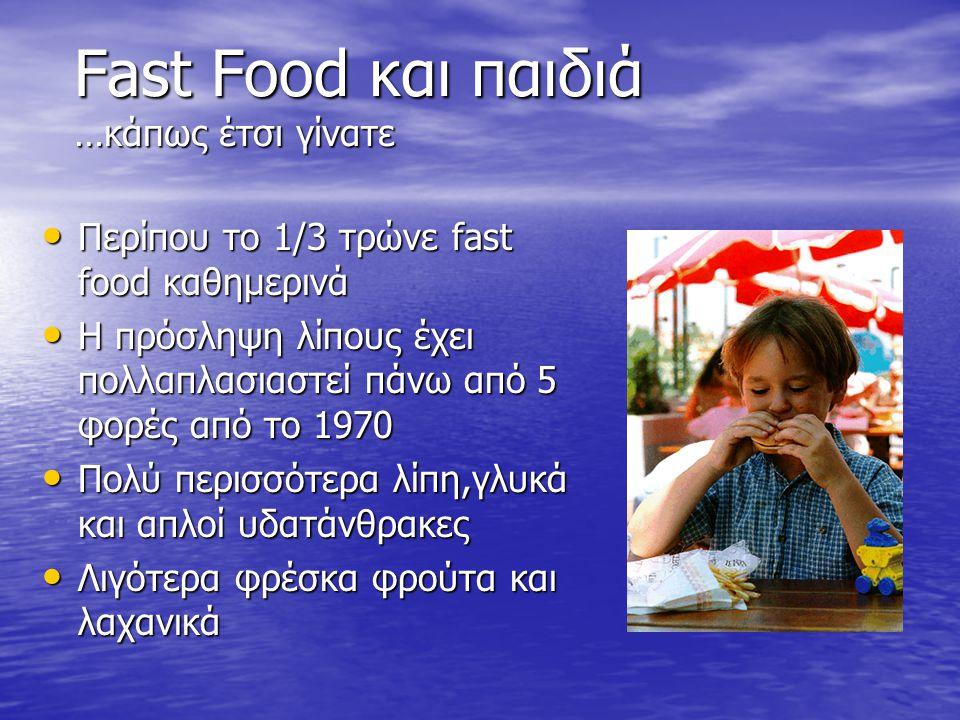 Fast Food και παιδιά …κάπως έτσι γίνατε Περίπου το 1/3 τρώνε fast food καθημερινά Περίπου το 1/3 τρώνε fast food καθημερινά Η πρόσληψη λίπους έχει πολλαπλασιαστεί πάνω από 5 φορές από το 1970 Η πρόσληψη λίπους έχει πολλαπλασιαστεί πάνω από 5 φορές από το 1970 Πολύ περισσότερα λίπη,γλυκά και απλοί υδατάνθρακες Πολύ περισσότερα λίπη,γλυκά και απλοί υδατάνθρακες Λιγότερα φρέσκα φρούτα και λαχανικά Λιγότερα φρέσκα φρούτα και λαχανικά
