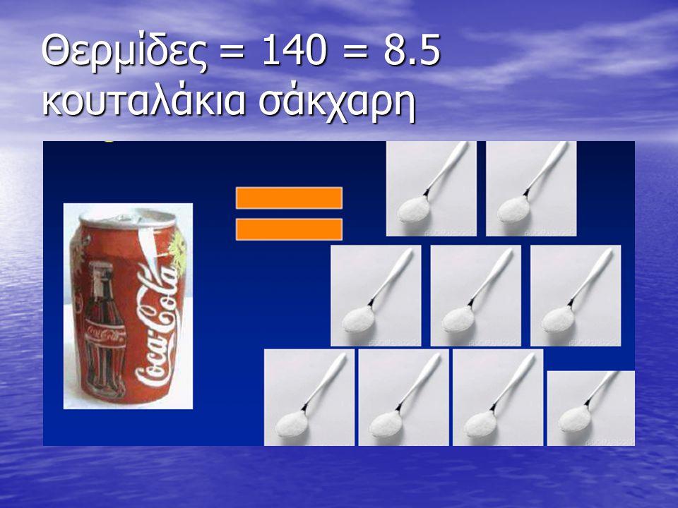 Θερμίδες = 140 = 8.5 κουταλάκια σάκχαρη
