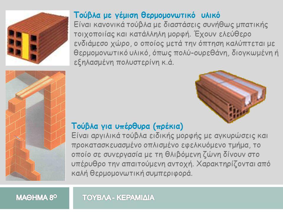 Τούβλα με γέμιση θερμομονωτικό υλικό Είναι κανονικά τούβλα με διαστάσεις συνήθως μπατικής τοιχοποιίας και κατάλληλη μορφή. Έχουν ελεύθερο ενδιάμεσο χώ