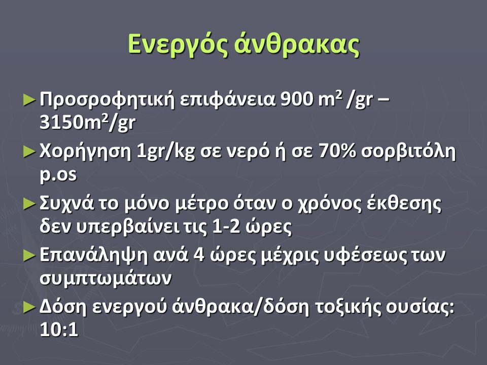 Ενεργός άνθρακας ► Προσροφητική επιφάνεια 900 m 2 /gr – 3150m 2 /gr ► Χορήγηση 1gr/kg σε νερό ή σε 70% σορβιτόλη p.os ► Συχνά το μόνο μέτρο όταν ο χρό