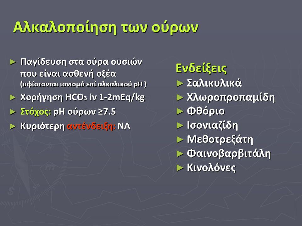 Αλκαλοποίηση των ούρων ► Παγίδευση στα ούρα ουσιών που είναι ασθενή οξέα (υφίστανται ιονισμό επί αλκαλικού pH ) ► Χορήγηση HCO 3 iv 1-2mEq/kg ► Στόχος