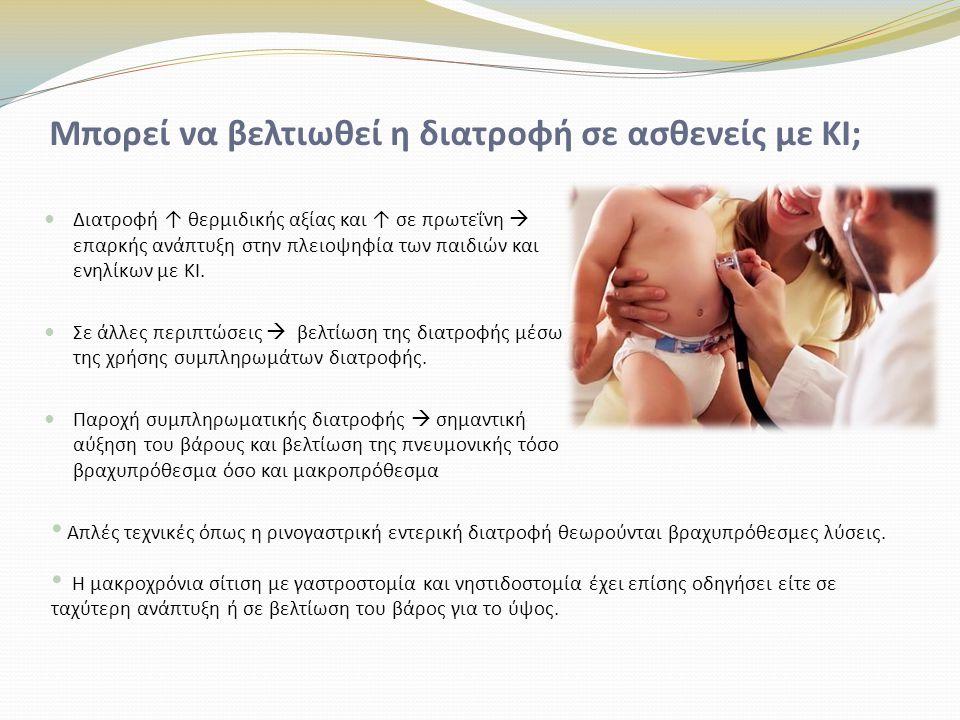 Παρεντερική σίτιση Η παρεντερική διατροφή είναι μια επιλογή για τη βραχυπρόθεσμη σίτιση μετά την επέμβαση εντερικής απόφραξης στον ειλεό μηκωνίου Αρκετές μελέτες έχουν δείξει μια κλινική βελτίωση της διατροφικής κατάστασης (και της πνευμονικής λειτουργίας) με συμπληρωματική παρεντερική σίτιση Το κόστος, ο κίνδυνος των επιπλοκών και η πολυπλοκότητα της διαχείρισης της παρεντερικής σίτισης δείχνουν ότι δεν αποτελεί μια συχνή θεραπεία για ασθενείς με κυστική ίνωση.