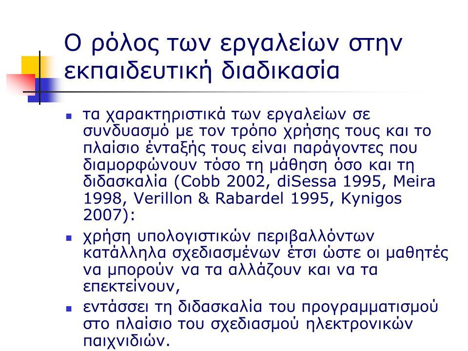Ο ρόλος των εργαλείων στην εκπαιδευτική διαδικασία τα χαρακτηριστικά των εργαλείων σε συνδυασμό με τον τρόπο χρήσης τους και το πλαίσιο ένταξής τους είναι παράγοντες που διαμορφώνουν τόσο τη μάθηση όσο και τη διδασκαλία (Cobb 2002, diSessa 1995, Meira 1998, Verillon & Rabardel 1995, Kynigos 2007): χρήση υπολογιστικών περιβαλλόντων κατάλληλα σχεδιασμένων έτσι ώστε οι μαθητές να μπορούν να τα αλλάζουν και να τα επεκτείνουν, εντάσσει τη διδασκαλία του προγραμματισμού στο πλαίσιο του σχεδιασμού ηλεκτρονικών παιχνιδιών.