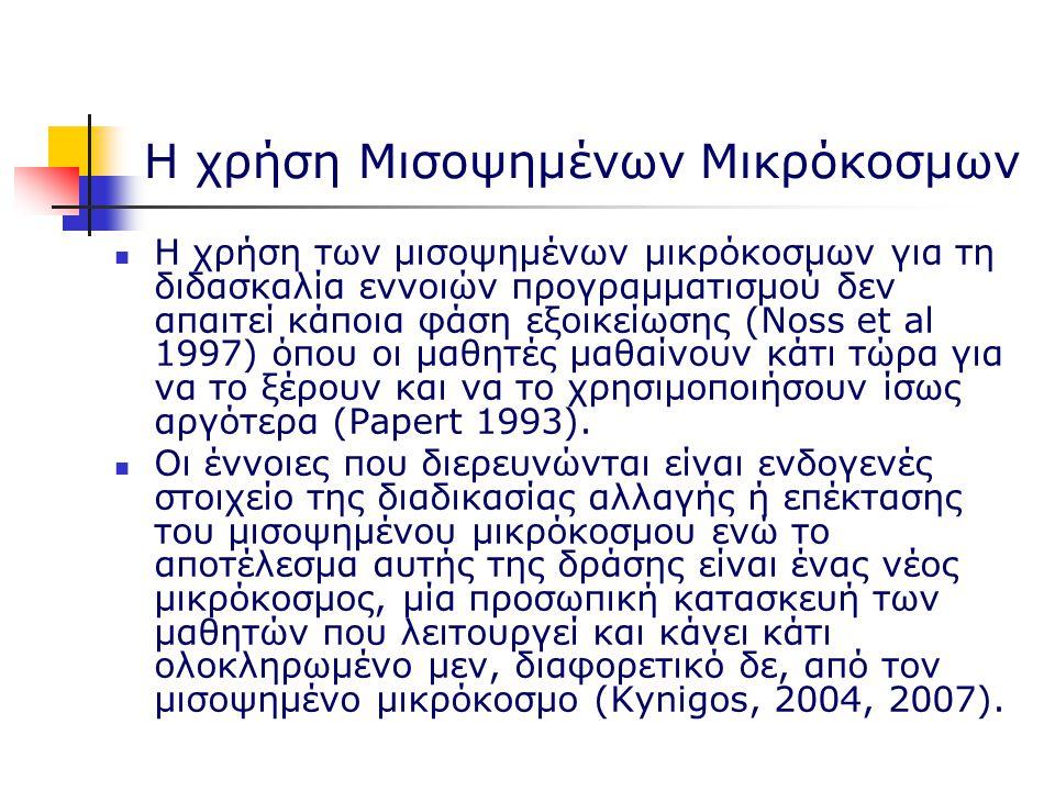 Η χρήση Μισοψημένων Μικρόκοσμων Η χρήση των μισοψημένων μικρόκοσμων για τη διδασκαλία εννοιών προγραμματισμού δεν απαιτεί κάποια φάση εξοικείωσης (Noss et al 1997) όπου οι μαθητές μαθαίνουν κάτι τώρα για να το ξέρουν και να το χρησιμοποιήσουν ίσως αργότερα (Papert 1993).