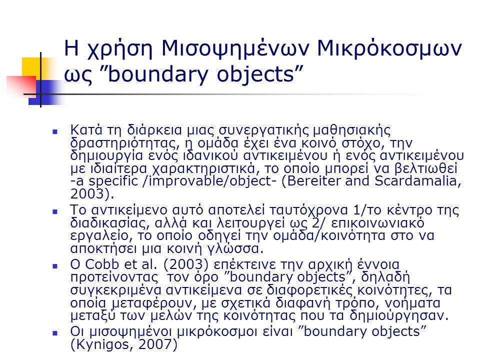 Η χρήση Μισοψημένων Μικρόκοσμων ως boundary objects Κατά τη διάρκεια μιας συνεργατικής μαθησιακής δραστηριότητας, η ομάδα έχει ένα κοινό στόχο, την δημιουργία ενός ιδανικού αντικειμένου ή ενός αντικειμένου με ιδιαίτερα χαρακτηριστικά, το οποίο μπορεί να βελτιωθεί -a specific /improvable/object- (Bereiter and Scardamalia, 2003).