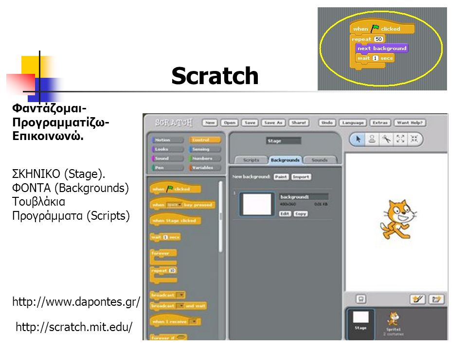 http://scratch.mit.edu/ Φαντάζομαι- Προγραμματίζω- Επικοινωνώ.
