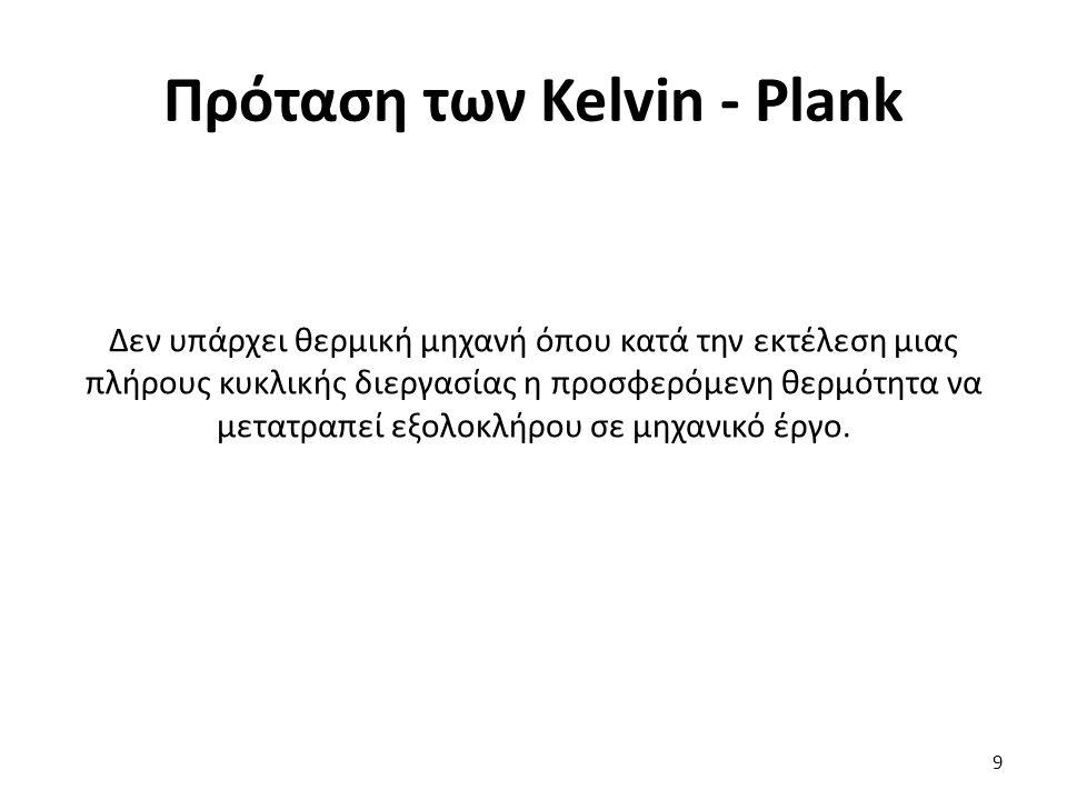 Πρόταση των Kelvin - Plank Δεν υπάρχει θερμική μηχανή όπου κατά την εκτέλεση μιας πλήρους κυκλικής διεργασίας η προσφερόμενη θερμότητα να μετατραπεί ε
