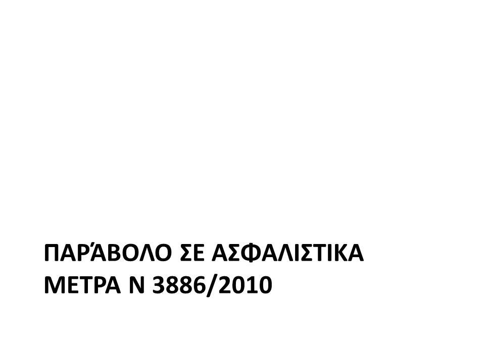 ΠΑΡΆΒΟΛΟ ΣΕ ΑΣΦΑΛΙΣΤΙΚΑ ΜΕΤΡΑ Ν 3886/2010
