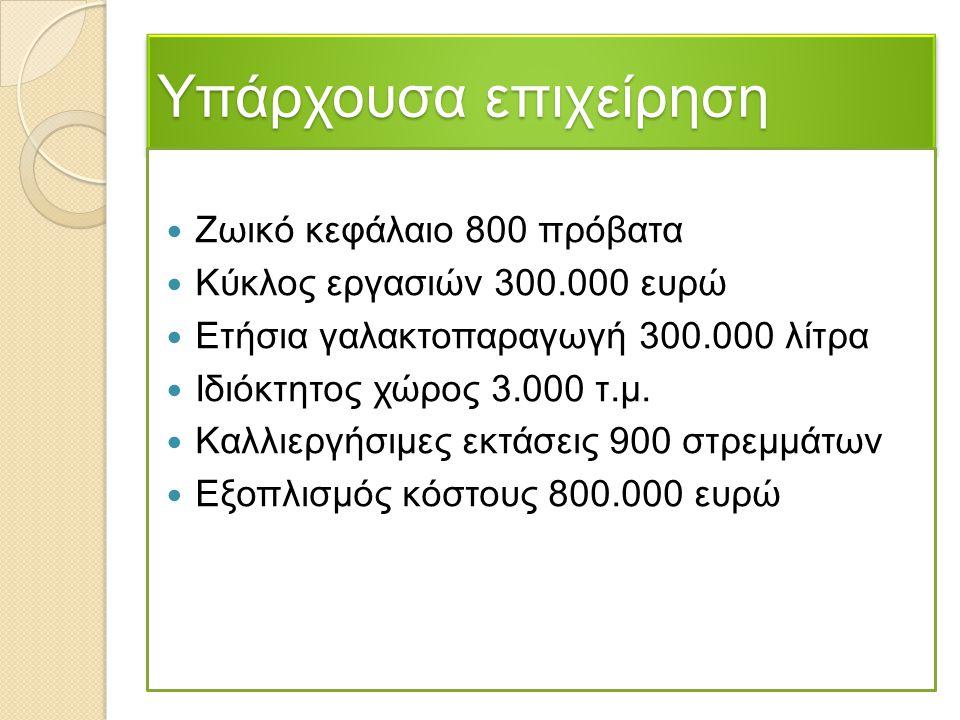 Υπάρχουσα επιχείρηση Ζωικό κεφάλαιο 800 πρόβατα Κύκλος εργασιών 300.000 ευρώ Ετήσια γαλακτοπαραγωγή 300.000 λίτρα Ιδιόκτητος χώρος 3.000 τ.μ. Καλλιεργ