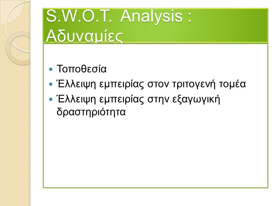 S.W.O.T. Analysis : Αδυναμίες Τοποθεσία Έλλειψη εμπειρίας στον τριτογενή τομέα Έλλειψη εμπειρίας στην εξαγωγική δραστηριότητα