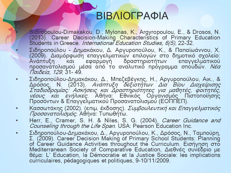 ΒΙΒΛΙΟΓΡΑΦΙΑ Sidiropoulou-Dimakakou, D., Mylonas, K., Argyropoulou, E., & Drosos, N. (2013). Career Decision-Making Characteristics of Primary Educati