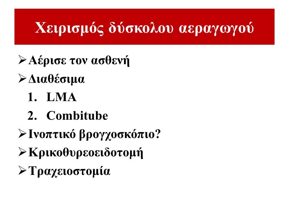 Ερώτηση 1 Ποιο από τα παρακάτω δεν αποτελεί μέθοδο αντιμετώπισης του δύσκολου αεραγωγού.