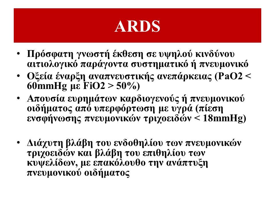 ARDS Πρόσφατη γνωστή έκθεση σε υψηλού κινδύνου αιτιολογικό παράγοντα συστηματικό ή πνευμονικό Οξεία έναρξη αναπνευστικής ανεπάρκειας (PaO2 50%) Απουσί