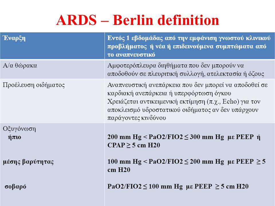 ARDS – Berlin definition ΈναρξηΕντός 1 εβδομάδας από την εμφάνιση γνωστού κλινικού προβλήματος ή νέα ή επιδεινούμενα συμπτώματα από το αναπνευστικό Α/