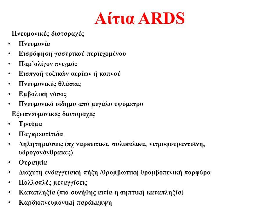 Αίτια ARDS Πνευμονικές διαταραχές Πνευμονία Εισρόφηση γαστρικού περιεχομένου Παρ'ολίγον πνιγμός Εισπνοή τοξικών αερίων ή καπνού Πνευμονικές θλάσεις Εμ