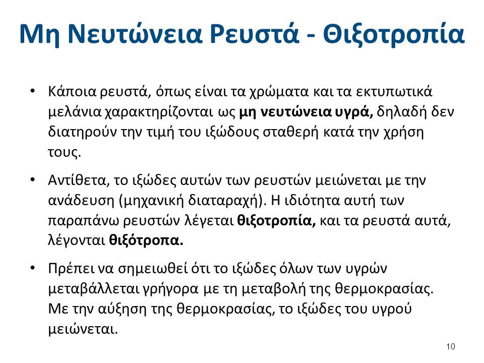 Μη Νευτώνεια Ρευστά - Θιξοτροπία Κάποια ρευστά, όπως είναι τα χρώματα και τα εκτυπωτικά μελάνια χαρακτηρίζονται ως μη νευτώνεια υγρά, δηλαδή δεν διατη