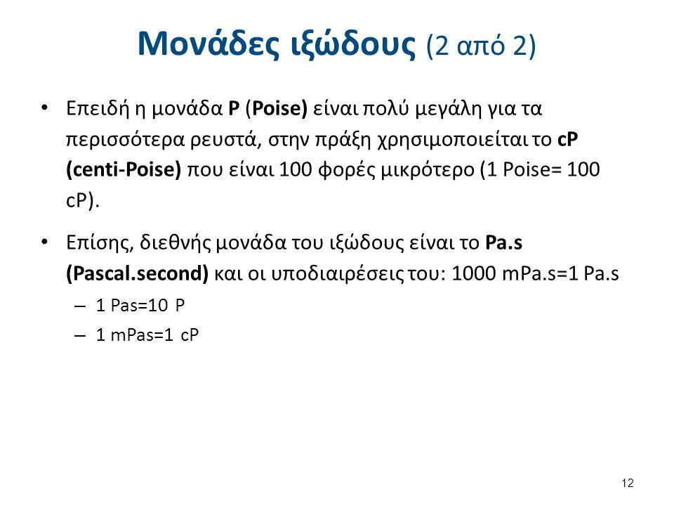 Μονάδες ιξώδους (2 από 2) Επειδή η μονάδα P (Poise) είναι πολύ μεγάλη για τα περισσότερα ρευστά, στην πράξη χρησιμοποιείται το cP (centi-Poise) που εί